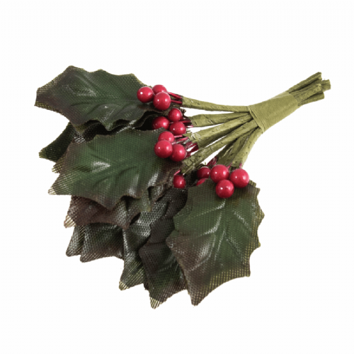Holly Leaves and Berries 9 Stems Green Red